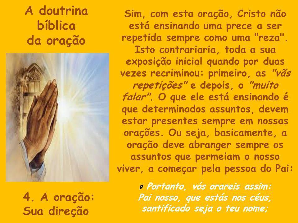 A doutrina bíblica da oração Sim, com esta oração, Cristo não está ensinando uma prece a ser repetida sempre como uma reza .