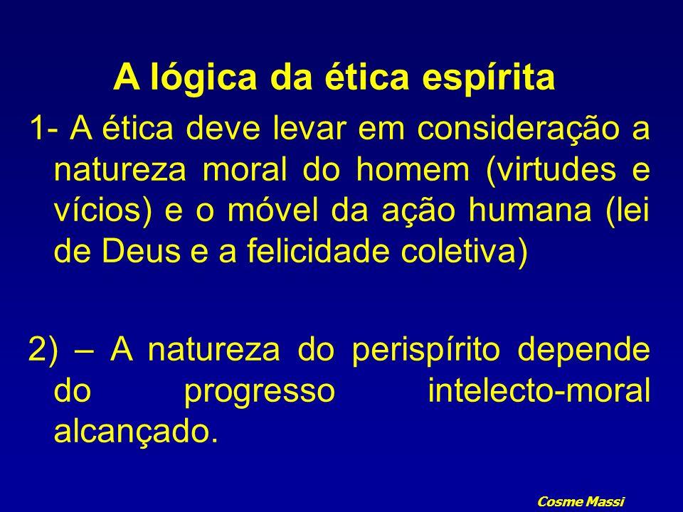 Cosme Massi A lógica da ética espírita 1- A ética deve levar em consideração a natureza moral do homem (virtudes e vícios) e o móvel da ação humana (l