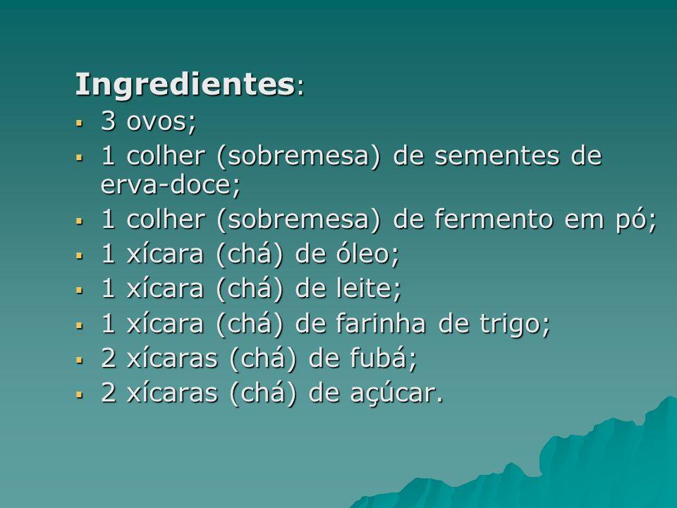 Preparo: Colocar os ovos, o açúcar, o fubá, a farinha de trigo, o leite e o óleo no liquidificador.