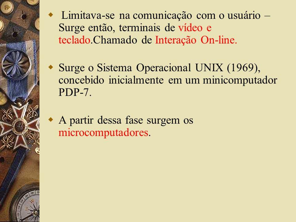 Limitava-se na comunicação com o usuário – Surge então, terminais de vídeo e teclado.Chamado de Interação On-line. Surge o Sistema Operacional UNIX (1