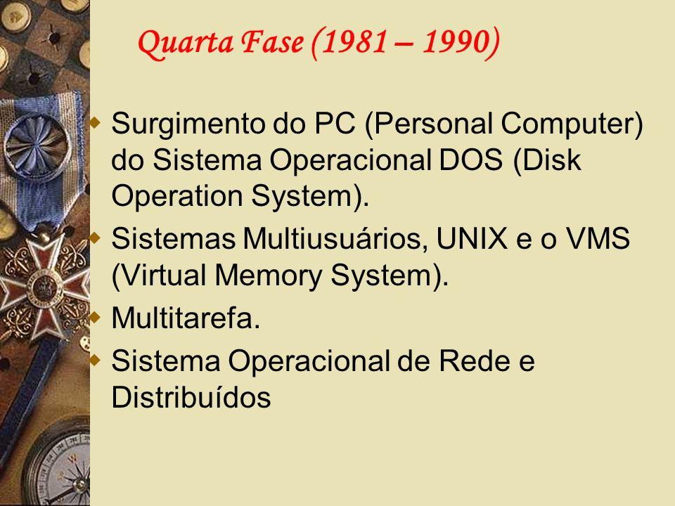 Quarta Fase (1981 – 1990) Surgimento do PC (Personal Computer) do Sistema Operacional DOS (Disk Operation System). Sistemas Multiusuários, UNIX e o VM