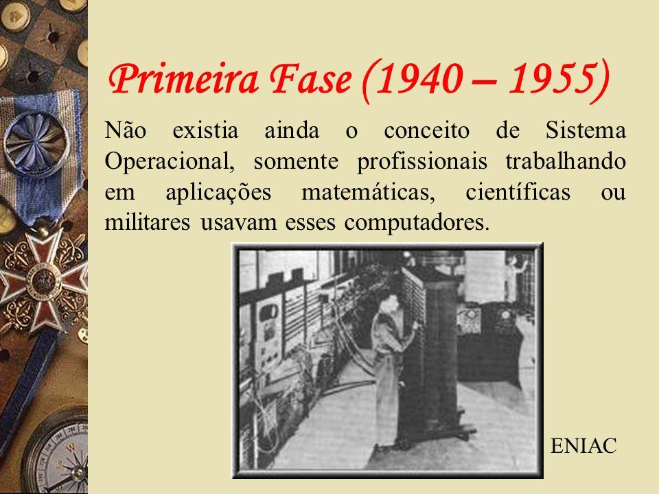Primeira Fase (1940 – 1955) Não existia ainda o conceito de Sistema Operacional, somente profissionais trabalhando em aplicações matemáticas, científi