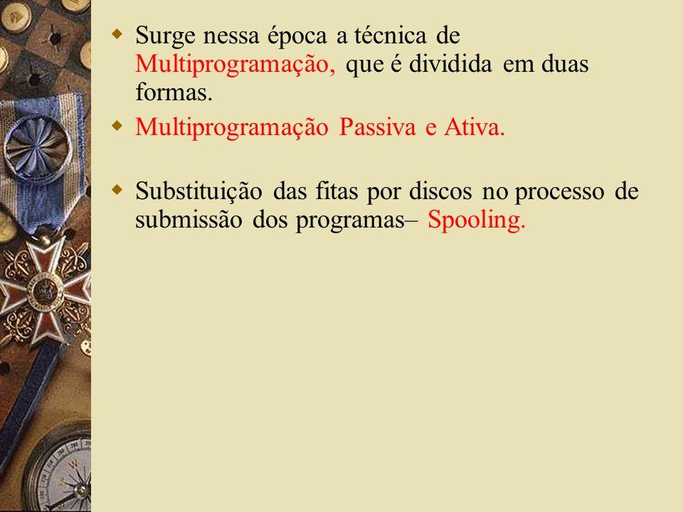 Surge nessa época a técnica de Multiprogramação, que é dividida em duas formas. Multiprogramação Passiva e Ativa. Substituição das fitas por discos no
