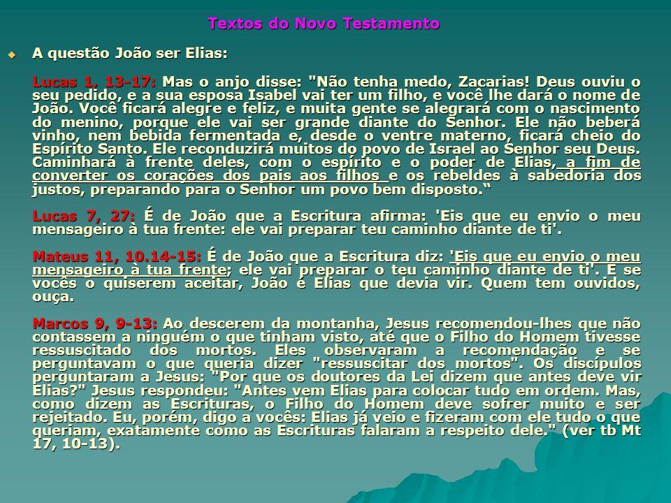 Textos do Novo Testamento A questão João ser Elias: A questão João ser Elias: Lucas 1, 13-17: Mas o anjo disse: