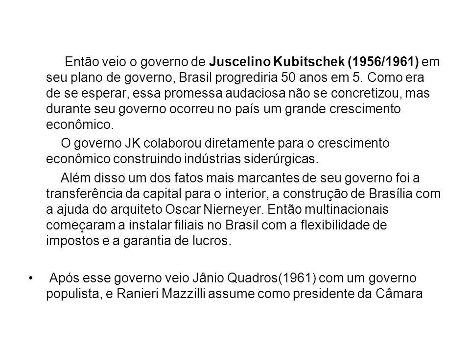 Então veio o governo de Juscelino Kubitschek (1956/1961) em seu plano de governo, Brasil progrediria 50 anos em 5. Como era de se esperar, essa promes