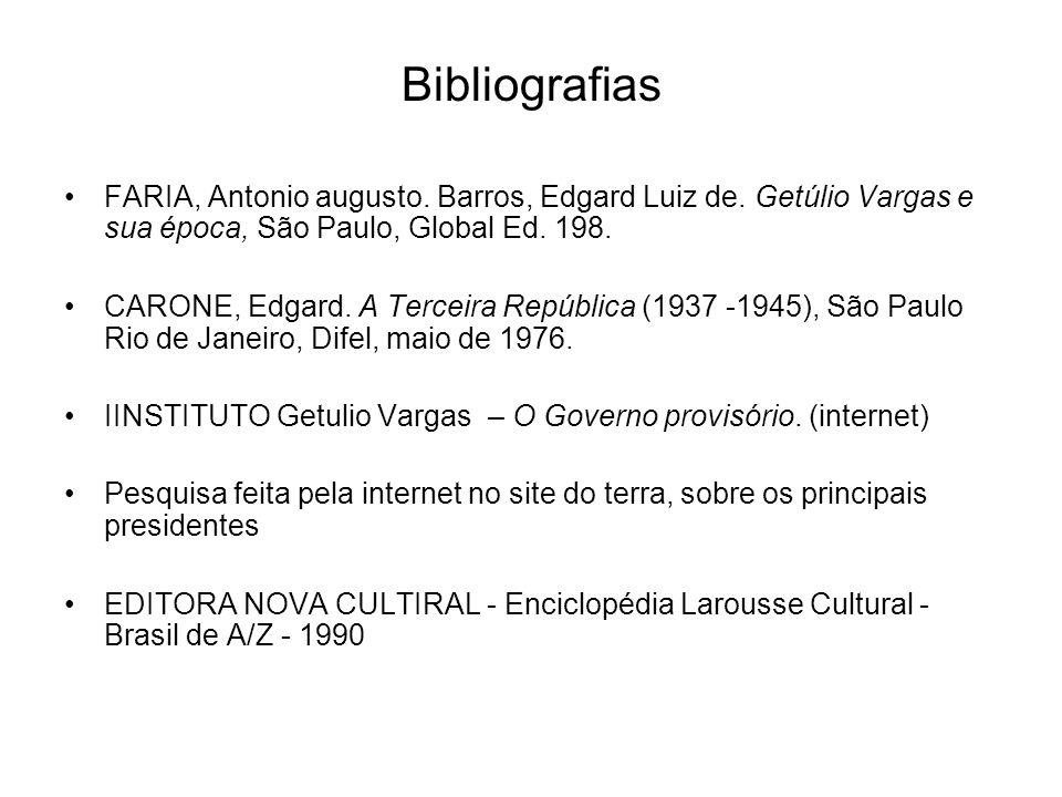 Bibliografias FARIA, Antonio augusto. Barros, Edgard Luiz de. Getúlio Vargas e sua época, São Paulo, Global Ed. 198. CARONE, Edgard. A Terceira Repúbl