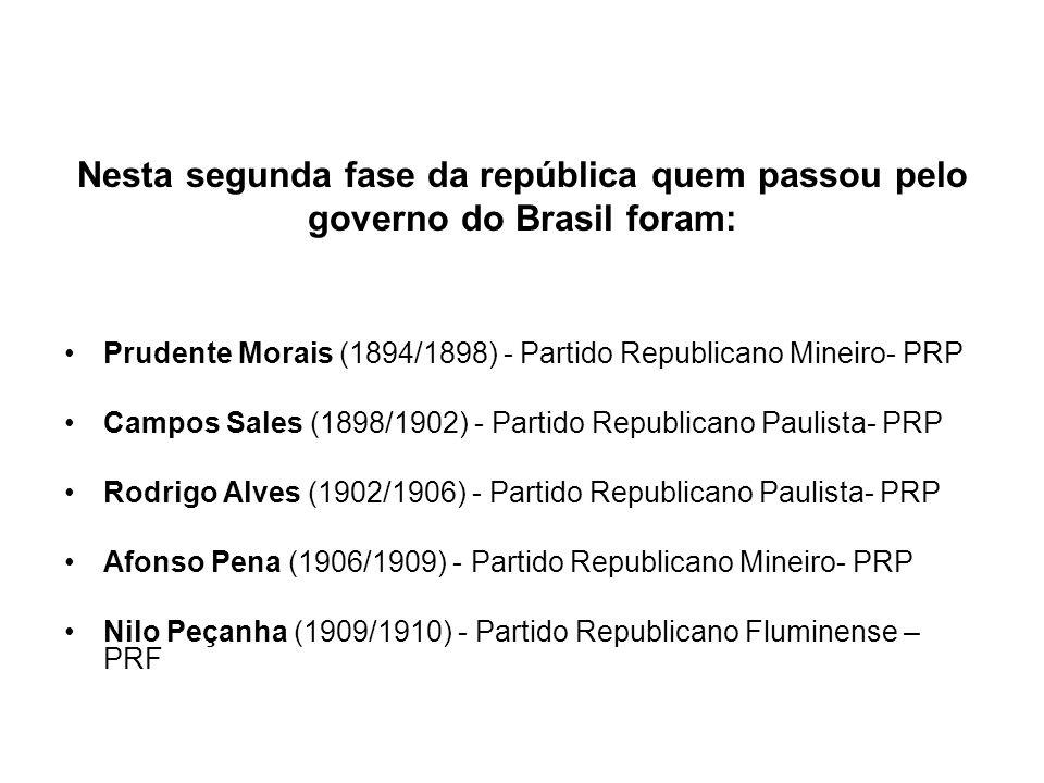 Nesta segunda fase da república quem passou pelo governo do Brasil foram: Prudente Morais (1894/1898) - Partido Republicano Mineiro- PRP Campos Sales