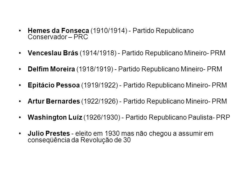 Hemes da Fonseca (1910/1914) - Partido Republicano Conservador – PRC Venceslau Brás (1914/1918) - Partido Republicano Mineiro- PRM Delfim Moreira (191
