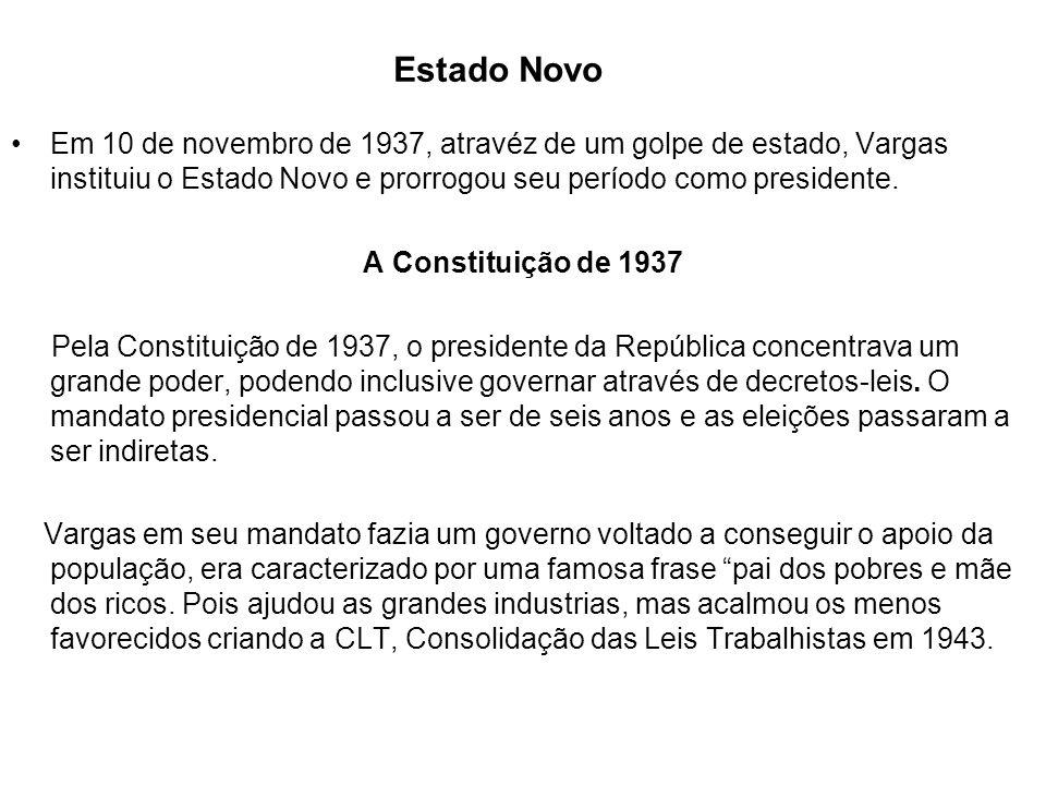Estado Novo Em 10 de novembro de 1937, atravéz de um golpe de estado, Vargas instituiu o Estado Novo e prorrogou seu período como presidente. A Consti