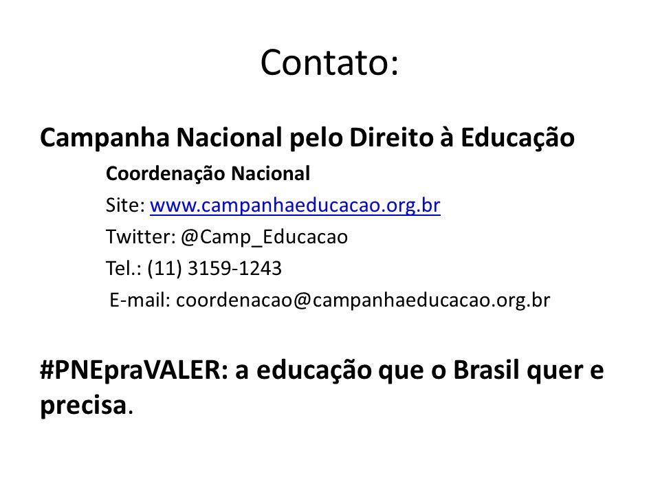 Contato: Campanha Nacional pelo Direito à Educação Coordenação Nacional Site: www.campanhaeducacao.org.brwww.campanhaeducacao.org.br Twitter: @Camp_Ed