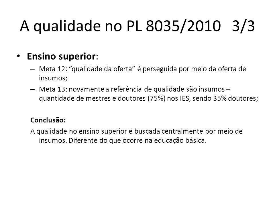 A qualidade no PL 8035/2010 3/3 Ensino superior: – Meta 12: qualidade da oferta é perseguida por meio da oferta de insumos; – Meta 13: novamente a ref