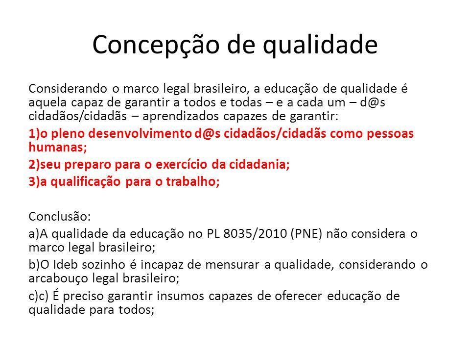 Concepção de qualidade Considerando o marco legal brasileiro, a educação de qualidade é aquela capaz de garantir a todos e todas – e a cada um – d@s c