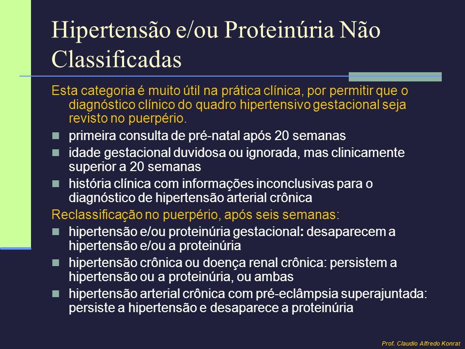 Hipertensão e/ou Proteinúria Não Classificadas Esta categoria é muito útil na prática clínica, por permitir que o diagnóstico clínico do quadro hipert