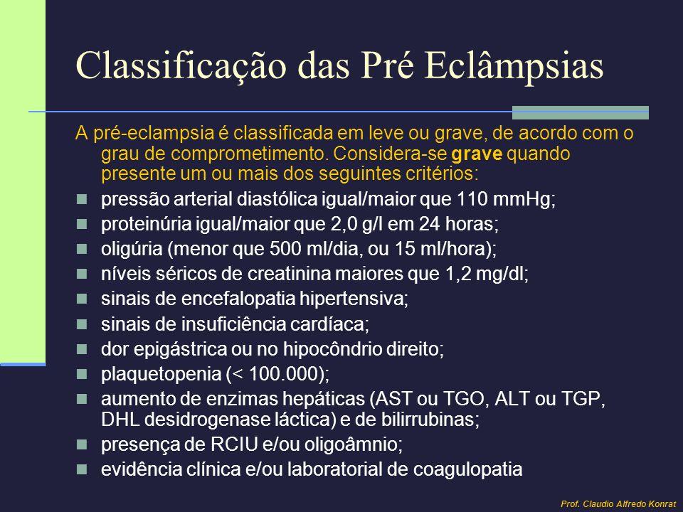 Classificação das Pré Eclâmpsias A pré-eclampsia é classificada em leve ou grave, de acordo com o grau de comprometimento. Considera-se grave quando p
