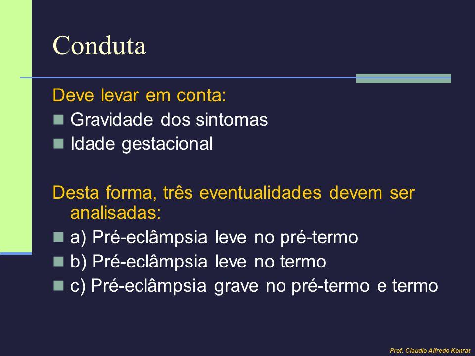 Conduta Deve levar em conta: Gravidade dos sintomas Idade gestacional Desta forma, três eventualidades devem ser analisadas: a) Pré-eclâmpsia leve no
