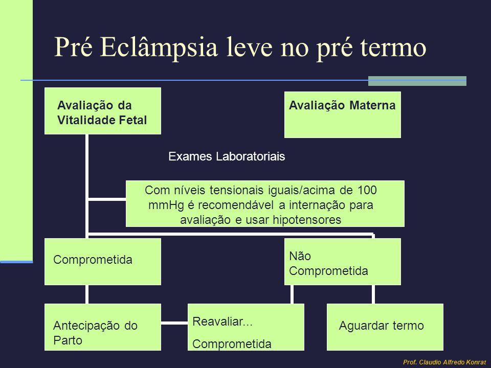 Pré Eclâmpsia leve no termo Tratamento Ambulatorial Repouso Dieta normosódica Hipotensores Exames Laboratoriais Avaliação materna e fetal entre a 37 e a 40 semana Comprometida Normais Antecipação do Parto Reavaliar...