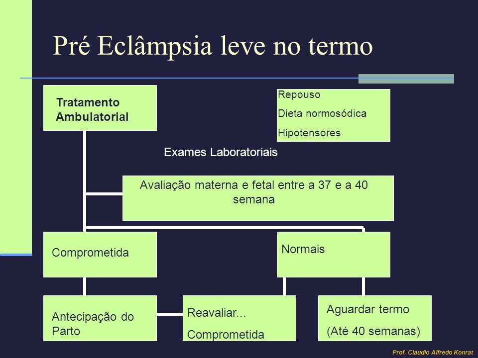 Pré Eclâmpsia grave no pré termo e termo Internação (obrigatória) Avaliação Materna Avaliação Fetal Hipotensores Exames Laboratoriais Cardiotocografia Dopplervelocimetria USOM (LA/BIOMETRIA FETAL) Melhora Não Melhora Mantidas Reavaliar...
