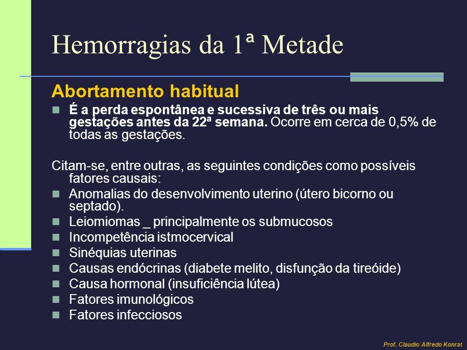 Hemorragias da 1 ª Metade Abortamento habitual Diagnóstico: Durante a gestação, é feito por: Anamnese (antecedentes ginecológicos e obstétricos) Exame ginecológico Ultra-sonografia obstétrica: rastreamento de malformação uterina e da incompetência istmocervical (medida do canal cervical e do orifício interno do colo) Avaliação endócrina: TSH, T3, T4, glicemia Pesquisa de infecções (rubéola, toxoplasmose, clamídia, e citomegalovirus) Avaliação imunológica (anticorpos antifosfolípides, anticardiolipina e anticoagulante lúpico, anticorpos antinucleares) No período intergestacional o diagnóstico é complementado pela histerosalpingografia e prova de velas de Hegar.