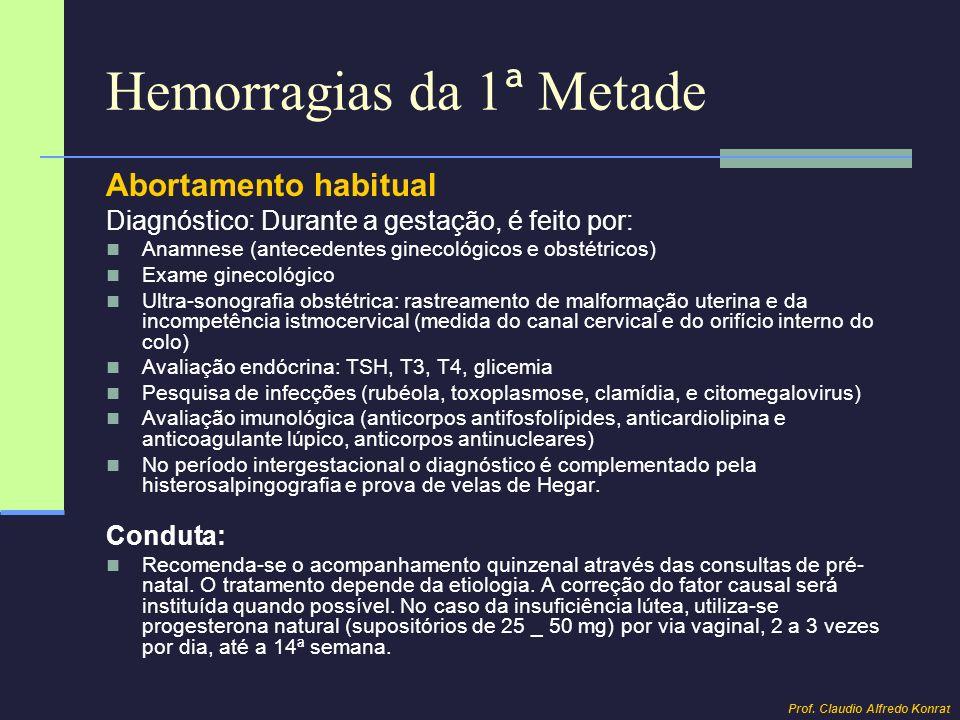 Hemorragias da 1 ª Metade Abortamento habitual Diagnóstico: Durante a gestação, é feito por: Anamnese (antecedentes ginecológicos e obstétricos) Exame