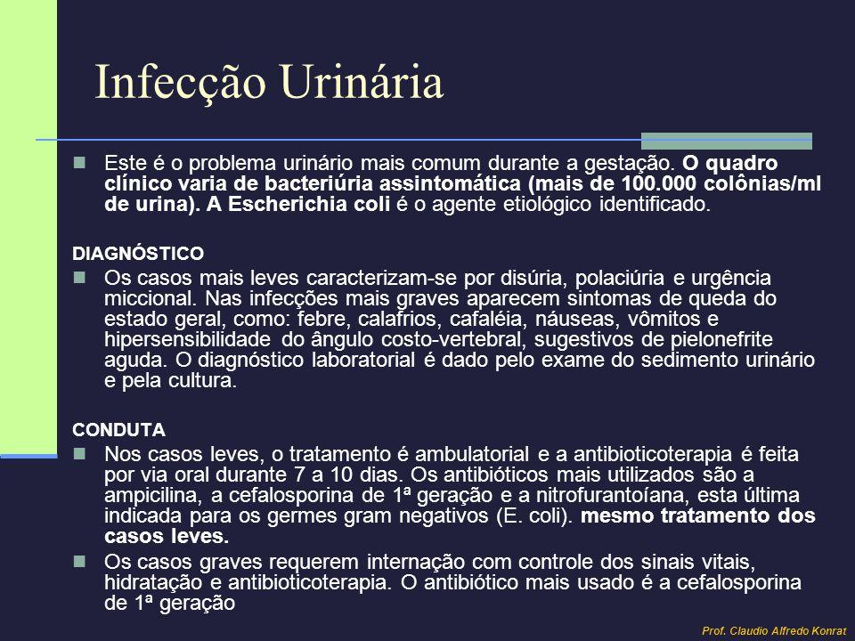 Infecção Urinária Este é o problema urinário mais comum durante a gestação. O quadro clínico varia de bacteriúria assintomática (mais de 100.000 colôn