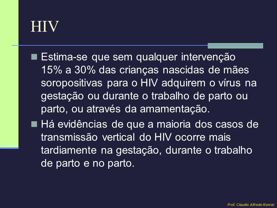 HIV Estima-se que sem qualquer intervenção 15% a 30% das crianças nascidas de mães soropositivas para o HIV adquirem o vírus na gestação ou durante o