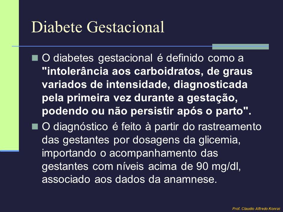 Diabete Gestacional O diabetes gestacional é definido como a