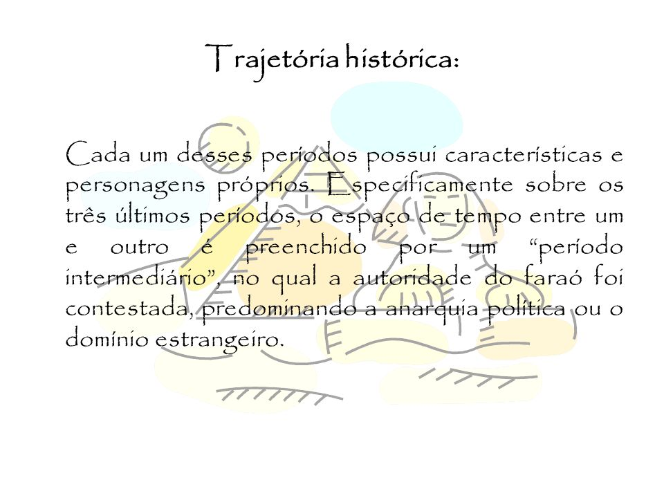 Trajetória histórica: Cada um desses períodos possui características e personagens próprios. Especificamente sobre os três últimos períodos, o espaço