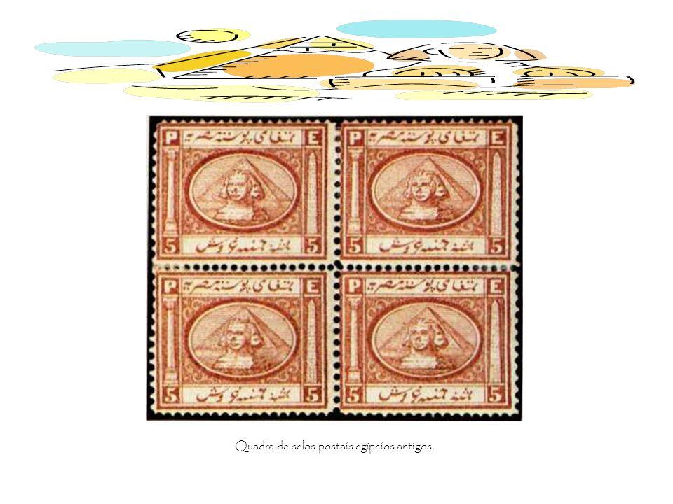 Quadra de selos postais egípcios antigos.