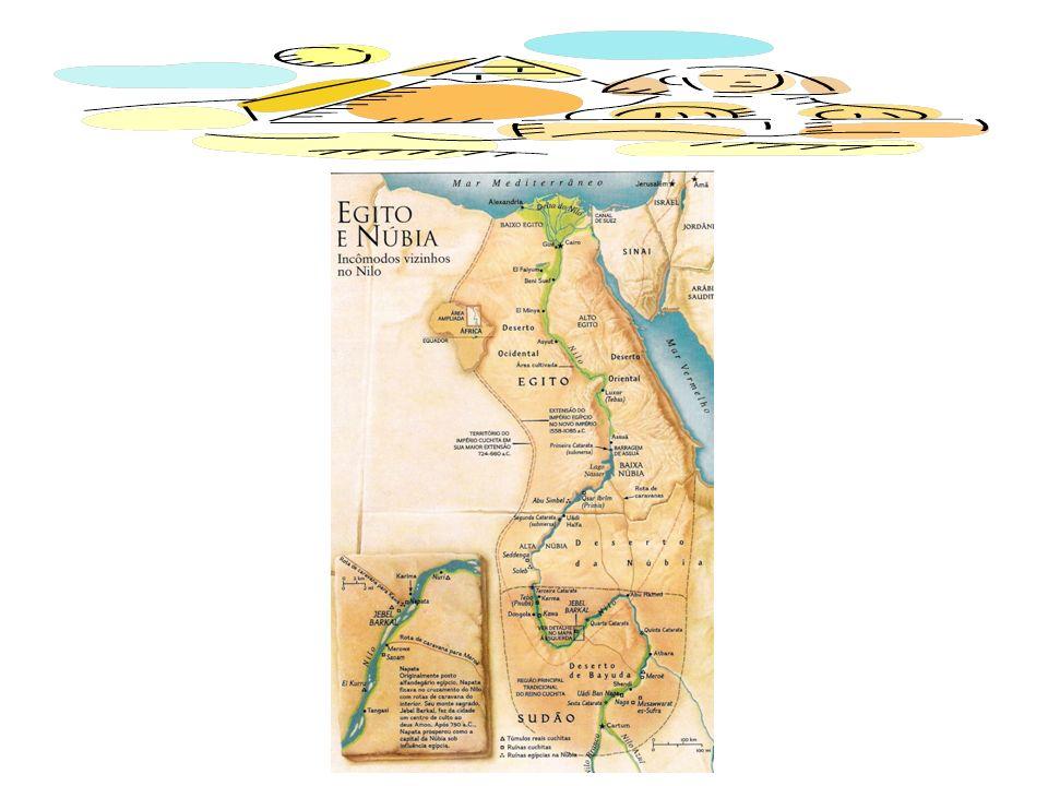 O rio Nilo nasce no lago Vitória e [...] desemboca no [mar] Mediterrâneo.