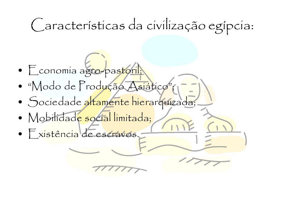 Características da civilização egípcia: Teocracia; Burocracia; Foram pioneiros na escrita, possuindo três estilos, os quais foram: 1.Hieroglífica; 2.Hierática; 3.Demótica.