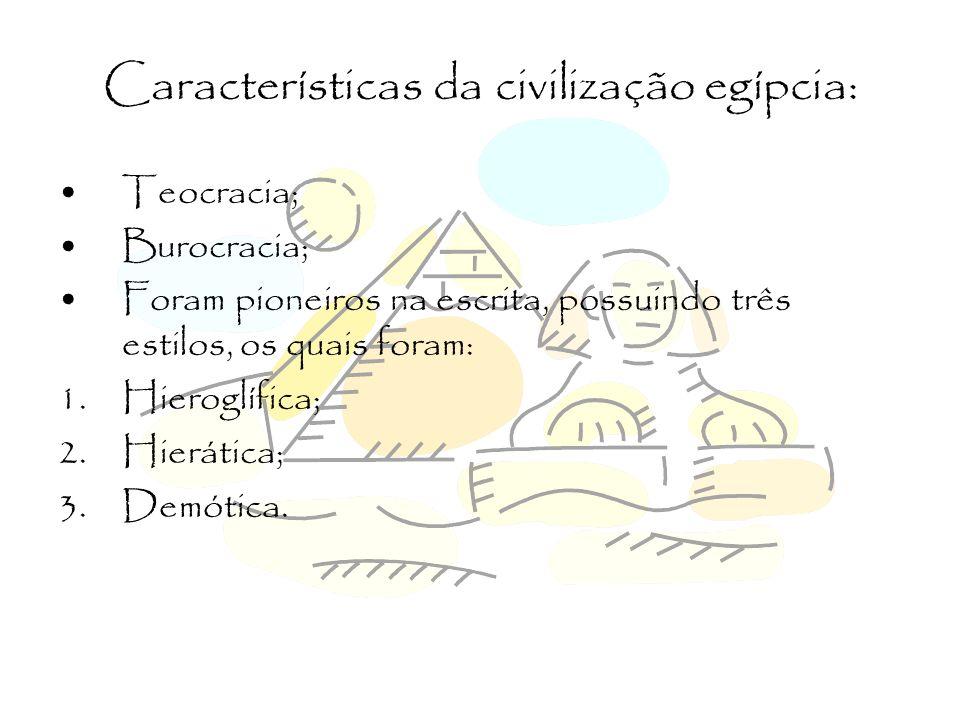 Características da civilização egípcia: Arte associada à Religião e Política; Caráter científico prático; Politeísmo; As representações divinas egípcias podiam ser: 1.Zoomórfica; 2.Antropomórfica; 3.Antropozoomórfica.
