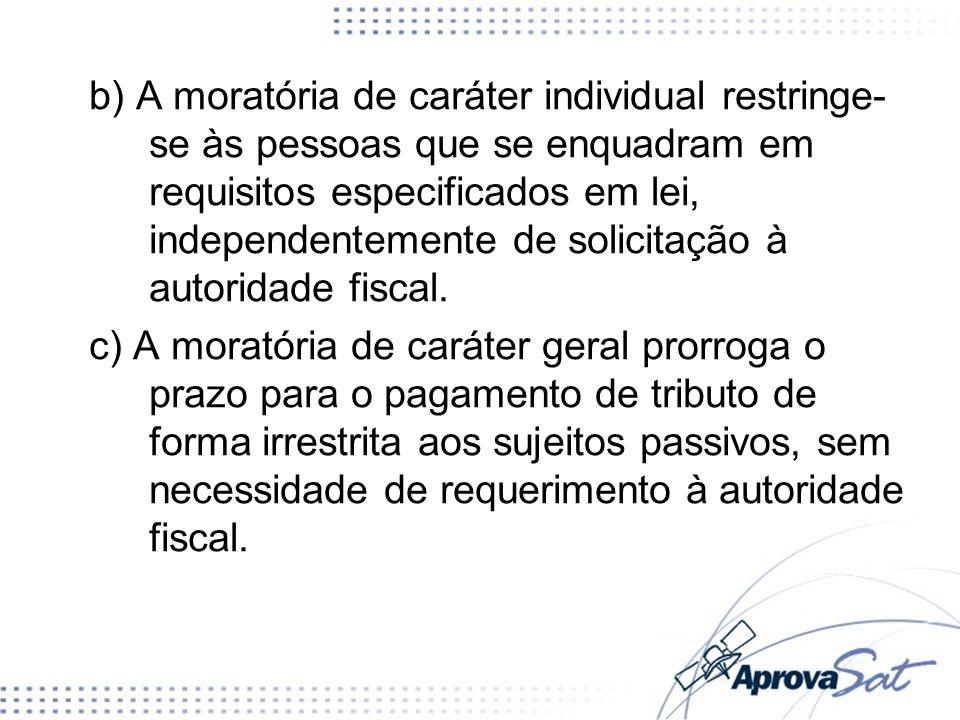 b) A moratória de caráter individual restringe- se às pessoas que se enquadram em requisitos especificados em lei, independentemente de solicitação à