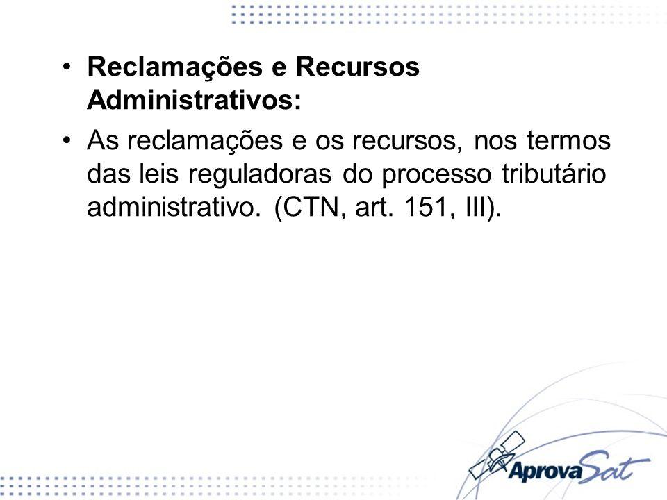 Reclamações e Recursos Administrativos: As reclamações e os recursos, nos termos das leis reguladoras do processo tributário administrativo. (CTN, art