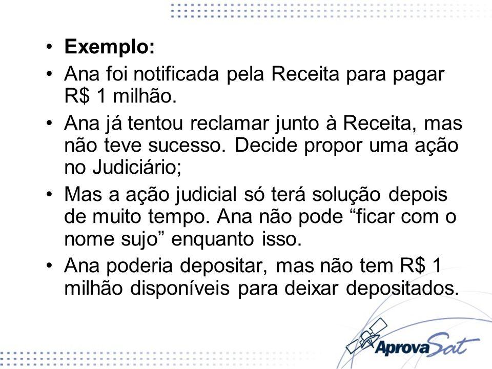 Exemplo: Ana foi notificada pela Receita para pagar R$ 1 milhão. Ana já tentou reclamar junto à Receita, mas não teve sucesso. Decide propor uma ação