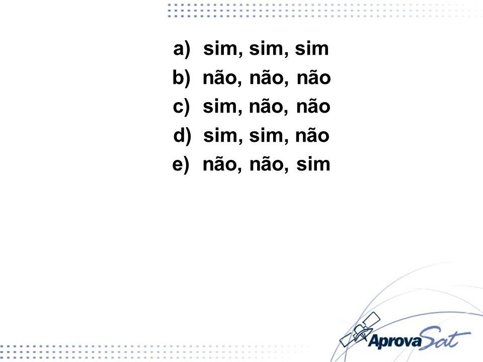 a)sim, sim, sim b)não, não, não c)sim, não, não d)sim, sim, não e)não, não, sim