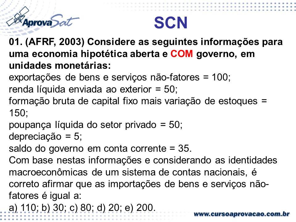 SCN 01. (AFRF, 2003) Considere as seguintes informações para uma economia hipotética aberta e COM governo, em unidades monetárias: exportações de bens