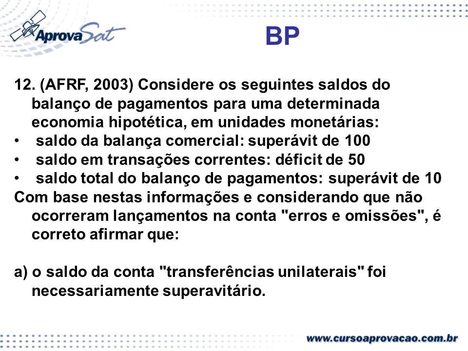BP 12. (AFRF, 2003) Considere os seguintes saldos do balanço de pagamentos para uma determinada economia hipotética, em unidades monetárias: saldo da