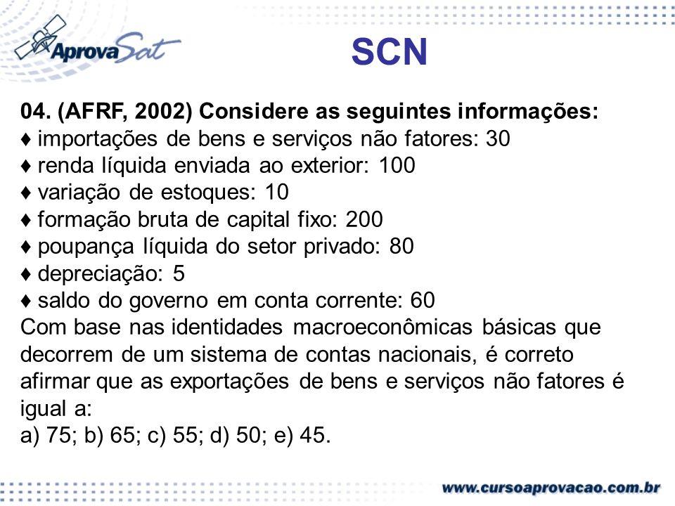 SCN 04. (AFRF, 2002) Considere as seguintes informações: importações de bens e serviços não fatores: 30 renda líquida enviada ao exterior: 100 variaçã