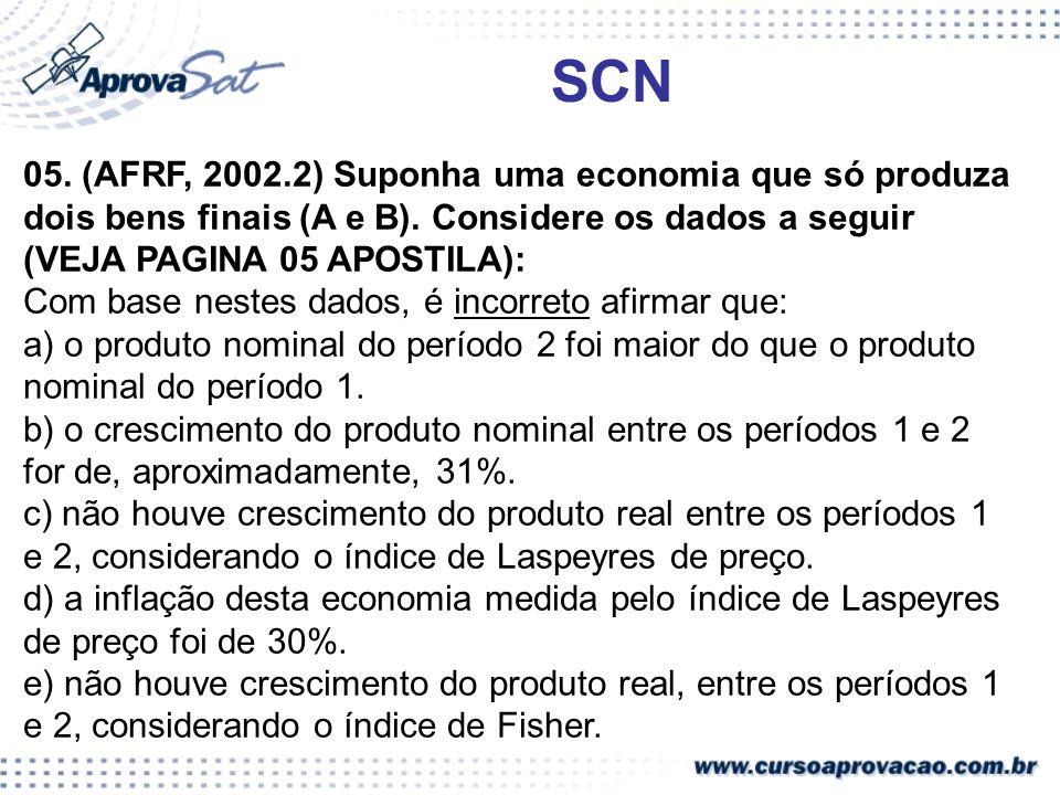 SCN 05. (AFRF, 2002.2) Suponha uma economia que só produza dois bens finais (A e B). Considere os dados a seguir (VEJA PAGINA 05 APOSTILA): Com base n