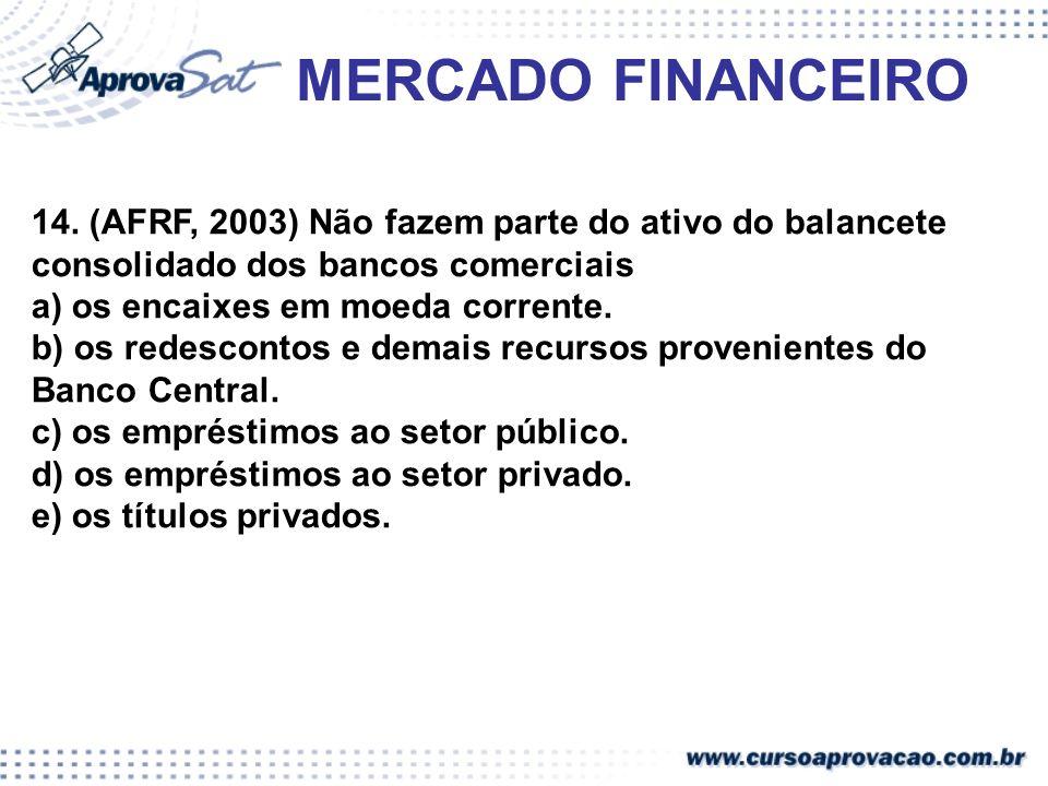 MERCADO FINANCEIRO 14. (AFRF, 2003) Não fazem parte do ativo do balancete consolidado dos bancos comerciais a) os encaixes em moeda corrente. b) os re