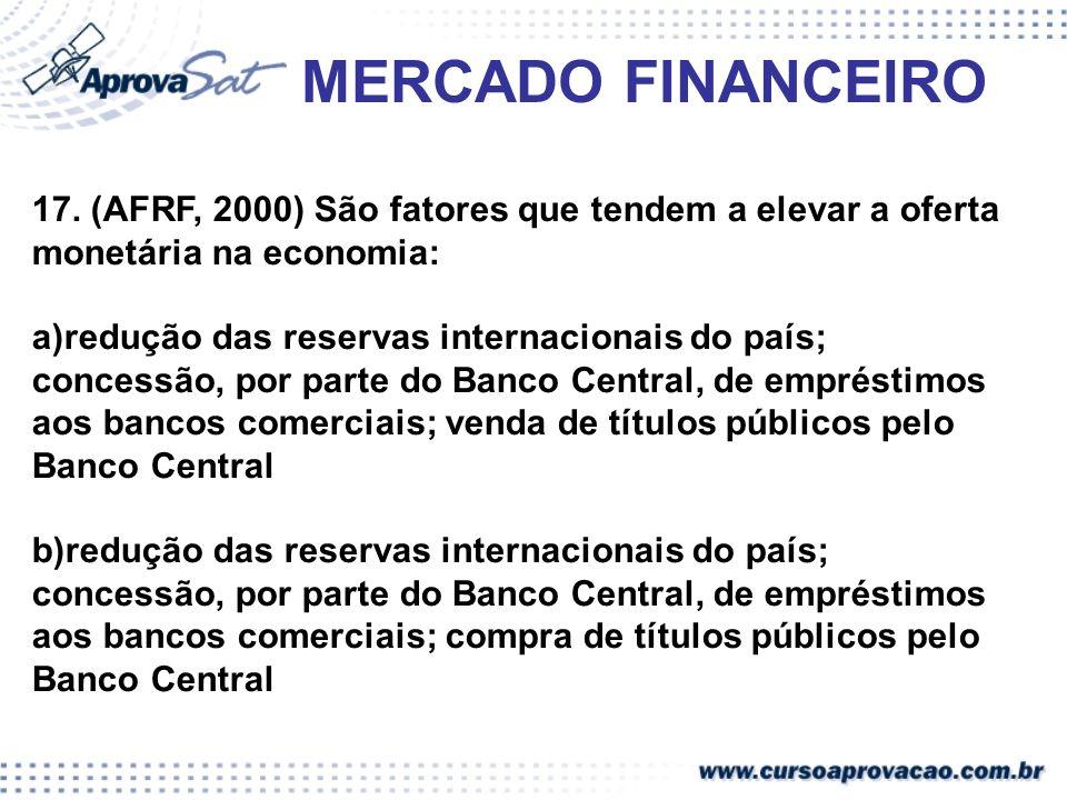 MERCADO FINANCEIRO 17. (AFRF, 2000) São fatores que tendem a elevar a oferta monetária na economia: a)redução das reservas internacionais do país; con