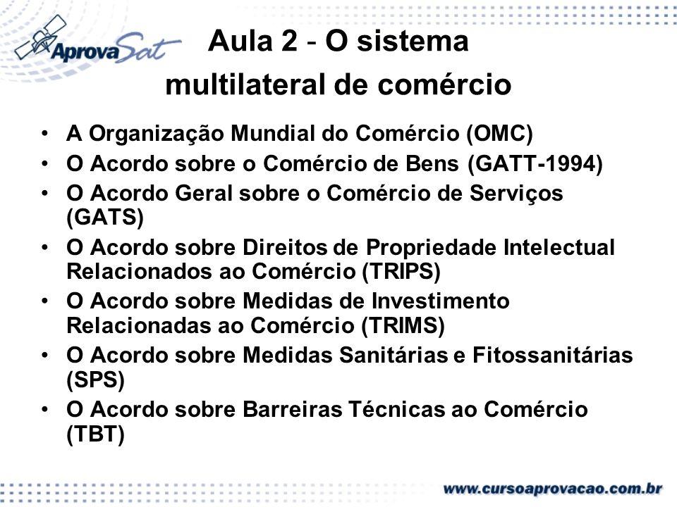 Aula 2 - O sistema multilateral de comércio A Organização Mundial do Comércio (OMC) O Acordo sobre o Comércio de Bens (GATT-1994) O Acordo Geral sobre