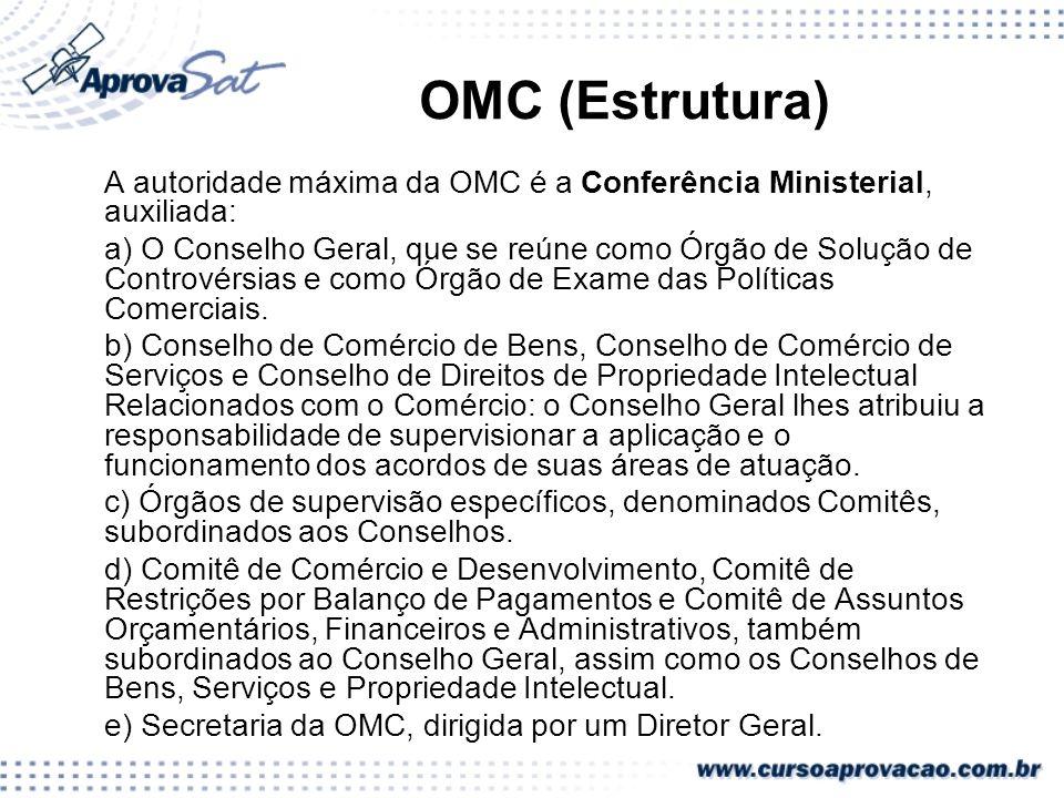 OMC (Estrutura) A autoridade máxima da OMC é a Conferência Ministerial, auxiliada: a) O Conselho Geral, que se reúne como Órgão de Solução de Contrové