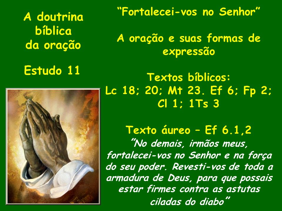 A doutrina bíblica da oração Estudo 11 Fortalecei-vos no Senhor A oração e suas formas de expressão Textos bíblicos: Lc 18; 20; Mt 23. Ef 6; Fp 2; Cl