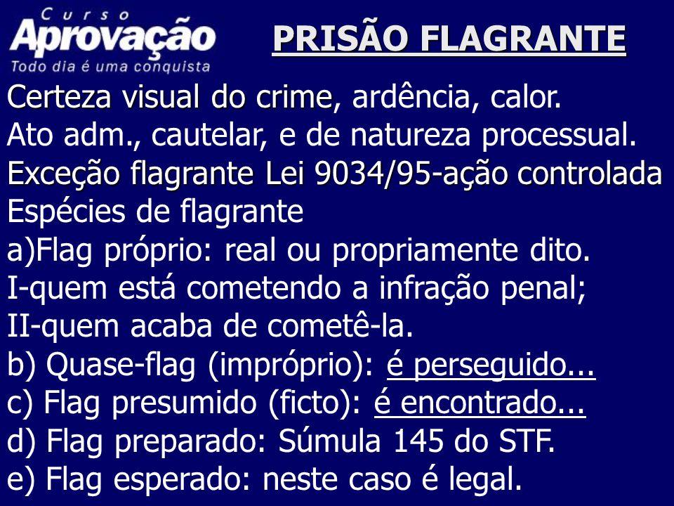 PRISÃO FLAGRANTE Certeza visual do crime Certeza visual do crime, ardência, calor. Ato adm., cautelar, e de natureza processual. Exceção flagrante Lei