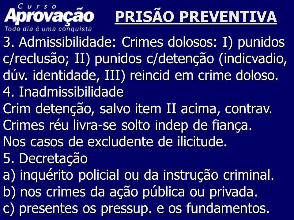 PRISÃO PREVENTIVA 3. Admissibilidade: Crimes dolosos: I) punidos c/reclusão; II) punidos c/detenção (indicvadio, dúv. identidade, III) reincid em crim