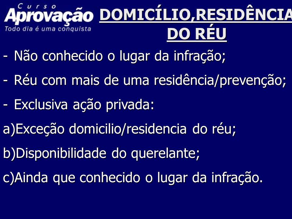 DOMICÍLIO,RESIDÊNCIA DO RÉU -Não conhecido o lugar da infração; -Réu com mais de uma residência/prevenção; -Exclusiva ação privada: a)Exceção domicili
