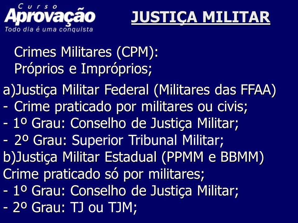 JUSTIÇA MILITAR Crimes Militares (CPM): Próprios e Impróprios; a)Justiça Militar Federal (Militares das FFAA) -Crime praticado por militares ou civis;