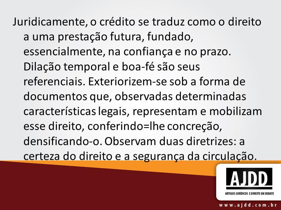 Juridicamente, o crédito se traduz como o direito a uma prestação futura, fundado, essencialmente, na confiança e no prazo. Dilação temporal e boa-fé
