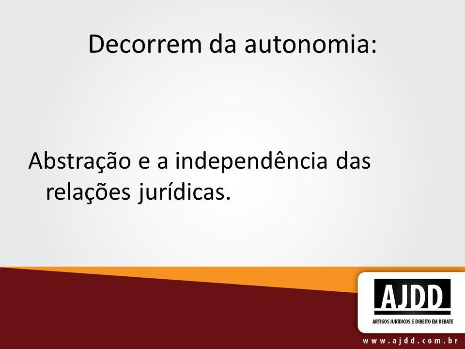 Decorrem da autonomia: Abstração e a independência das relações jurídicas.